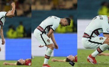 Cristiano Ronaldo ném băng đội trưởng sau khi Bồ Đào Nha thua Bỉ