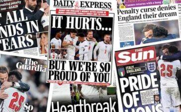 Truyền thông Anh nói gì về thất bại trong trận chung kết EURO của đội nhà